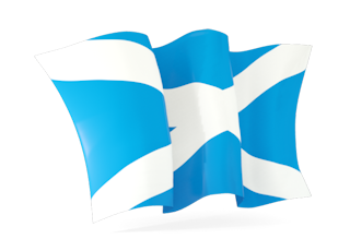 Image of Scottish Flag (St. Andrew's Cross) blowing int the wind..