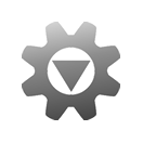 A simple machine cog with a large open centre circle. In the centre is a large, downward pointing triangle donating a download. Everything is a cool semi-transparent grey.