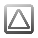 A simple upwards triangle inside a square, rounded in semi-transpoarent grey gradient.