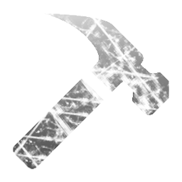A chisel-end hammer, cracked, near smashed to pieces by Anti-Hammer, in semi-transparent greyscale.