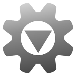 Simple image of a machine cog with an enlarged center. In the centre is a downward pointing triangle, donating a download. Everything is in a cool semi-transparent grey gradient.