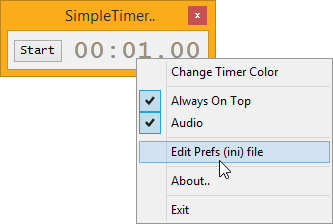 Screenshot of Simple Timer Main Window