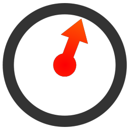 Simple Timer icon/logo @ 256 pixels - a chunky blackish circle with a single, thick, red arrowed hand inside it