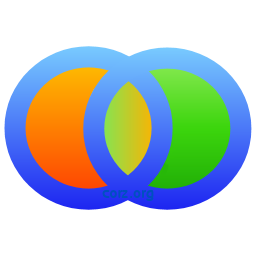 BackUp logo.. Two perfect rings, intertwined. Their thick bodies a gradient blue, the top approaching light sky, the centres filled with ther own gradient bursts, deep orange up to light on the left, likewise green on the right. In the eye, the overlap, the colours reverse and merge, creating a continuity between the deep outer moons, and inner eye. One disc represents the live data, the other the secure mirror. In the center, the eye of activity, the two become one.