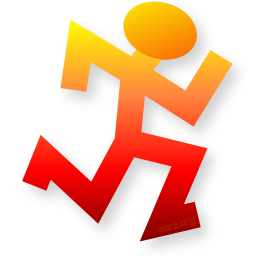 Batch Runner icon/logo, in super-large orange-red top-down gradient 256 pixel size PNG! It is a simple stick figure drawn with the such beautiful dimensions that the sense of movement and speed is astonishing, which explains why everyone keeps stealing it for their projects!