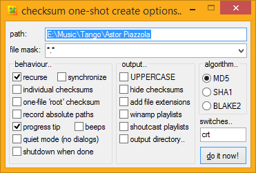 windows checksum creation options dialog