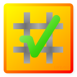checksum logo, a green checkmark over a grey hash set on a gentle orange-yellow gradient coloured square - simple