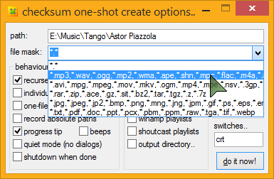 checksum creation options dialog, file types group drop-down, regular Windows masks apply