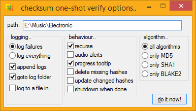 windows checksum verfication options dialog