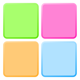 128 pixel PNG image of Color Pickin Chooser icon/logo in red-yellow gradient. Nah, just kidding - it is four simple, slightly rounded squares in pastel shades, clockwise from top-left; green, pink, orange, blue.