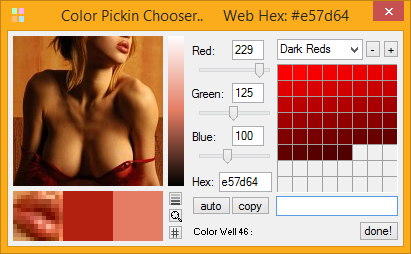 screenshot image of Color Pickin Chooser displaying lots of red