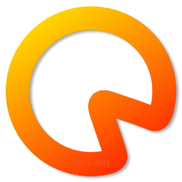 CorzSpaZio logo - my trademark orange gradient fills the thick outline drawing of a pie-chart, the triangle space between 4 and 5 missing, representing space on a disk.
