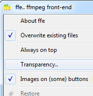 ffe - FFmpeg front-end for windows, the application menu has been activated