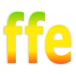 logo for ffe - FFmpeg front-end for windows. it's converting some raw video from my camera - the logo is a simple large text of the three letters, coloured from top to bottom, green, yellow, red, in a smooth gradient.