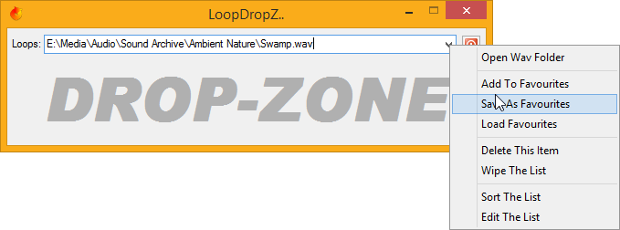 LoopDropZ, that list has options, and favourites..